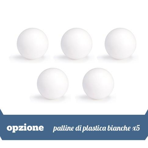 5 palline in plastica bianche