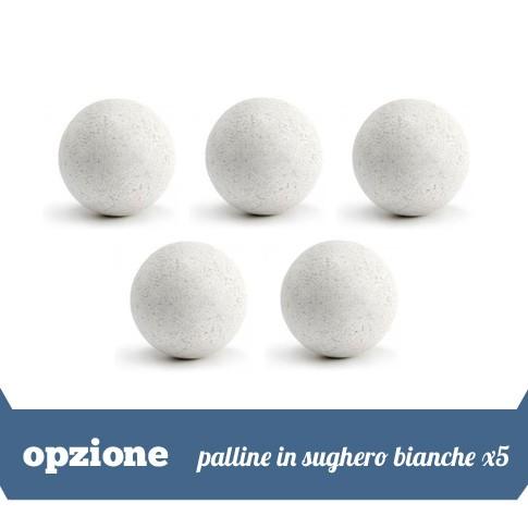 5 palline in sughero bianche