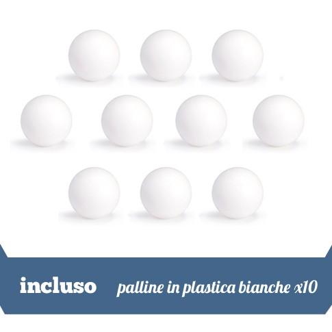 10 palline in plastica bianche